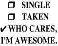 Single Taken Who Cares I'm Awesome Funny T Shirt